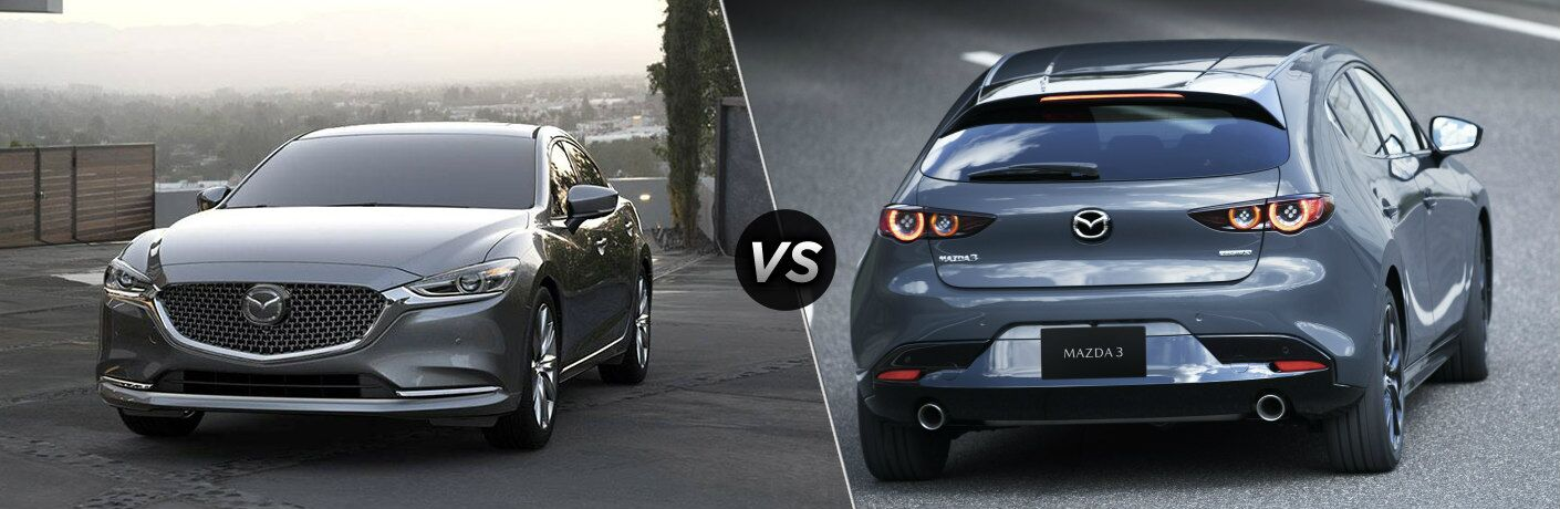 """2019 Mazda6 and 2019 Mazda3 hatchback, separated by a diagonal line and a """"VS"""" logo."""