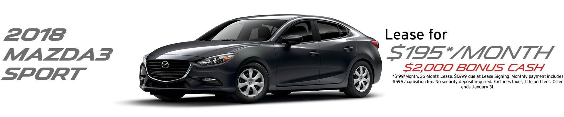 2018 Mazda3 Sport lease offer banner