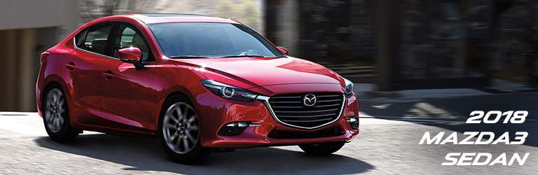 red 2018 Mazda3 with banner in bottom right corner