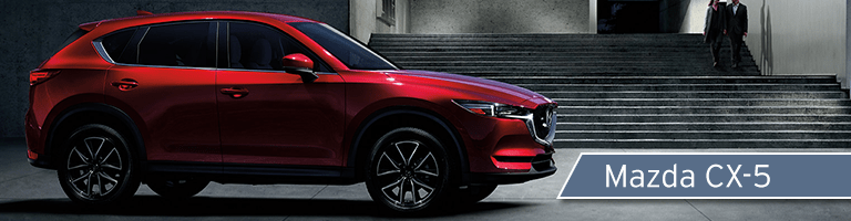 red 2018 Mazda CX-5 with banner in bottom right corner