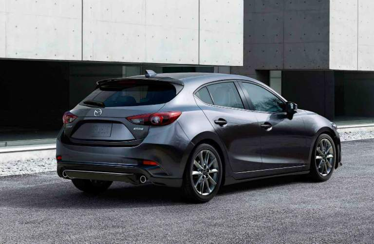 rear of dark gray mazda3