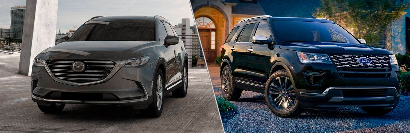 gray mazda cx-9 compared to black ford explorer
