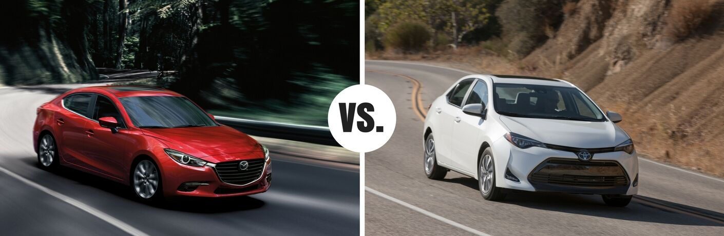 red mazda3 vs white toyota corolla