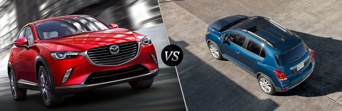 red mazda cx-3 compared to blue chevy trax