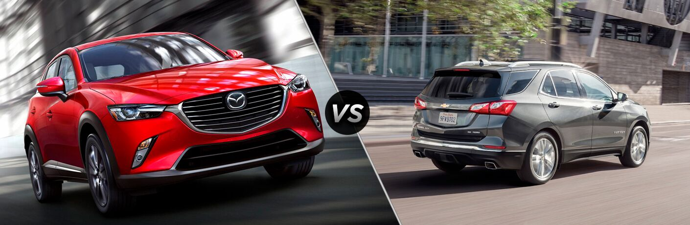 red mazda cx-3 compared to gray chevy equinox