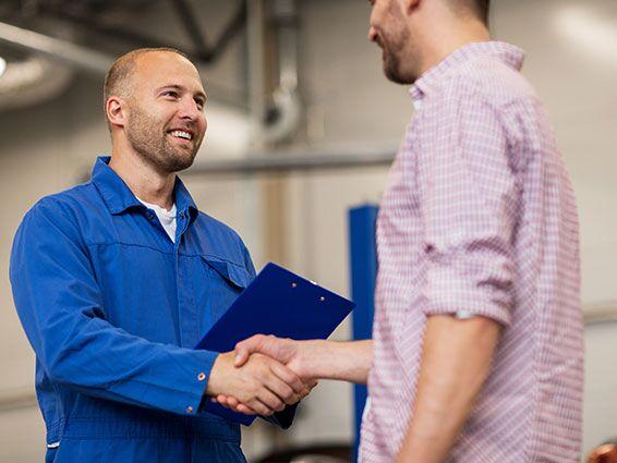 Customer hand shake