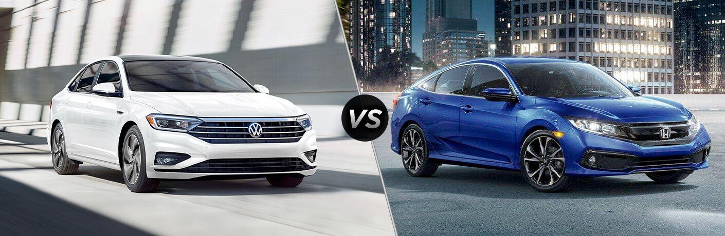White 2020 Volkswagen Jetta on left VS blue 2020 Honda Civic on right