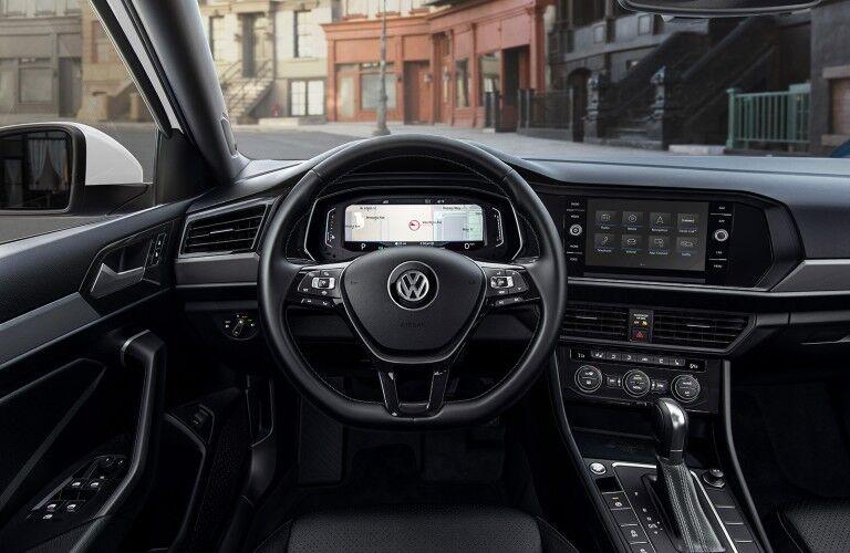 Steering wheel inside the 2020 Volkswagen Jetta