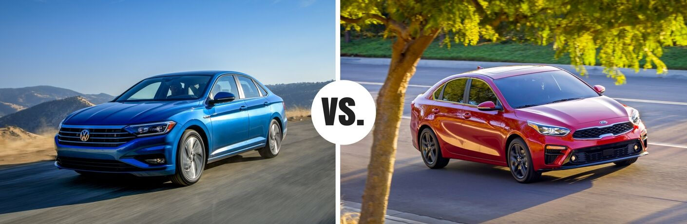 blue volkswagen jetta compared to red kia forte
