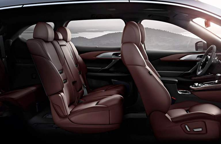 Interior View of the 2018 Mazda CX-9 Seating in Burgundy