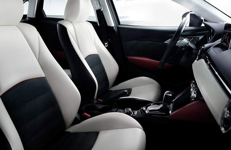 2017 Mazda CX-3 Interior View of Front Seating in White and Black