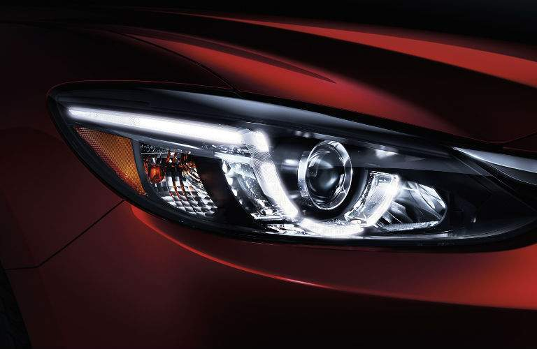 2017.5 Mazda6 Headlight View with Red Exterior Coloring