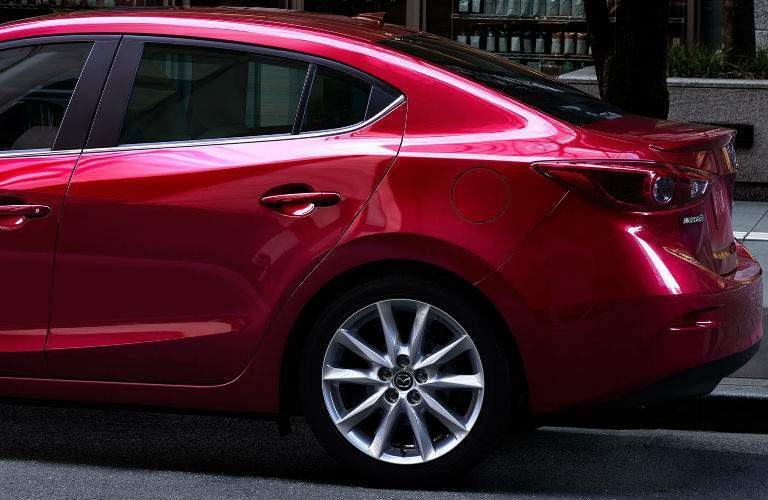 2017 Mazda3 Exterior View of Rear End and Wheel in Red