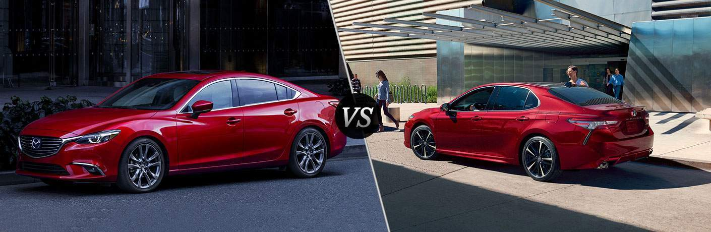 2017.5 Mazda6 in Red vs 2018 Toyota Camry in Red