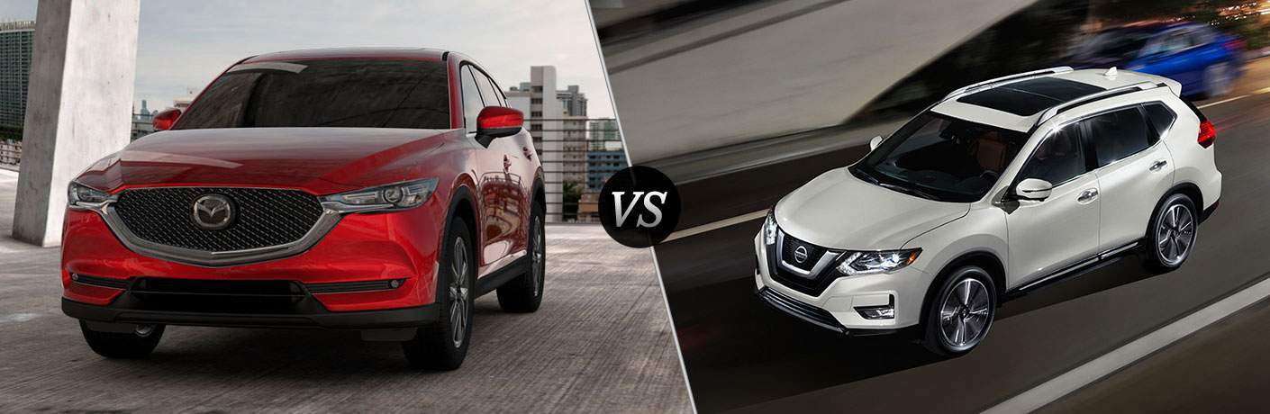 2017 Mazda CX-5 in Red vs 2018 Nissan Rogue in White