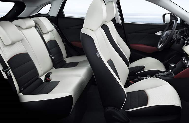 2018 Mazda CX-3 Interior View of Seating in White and Black