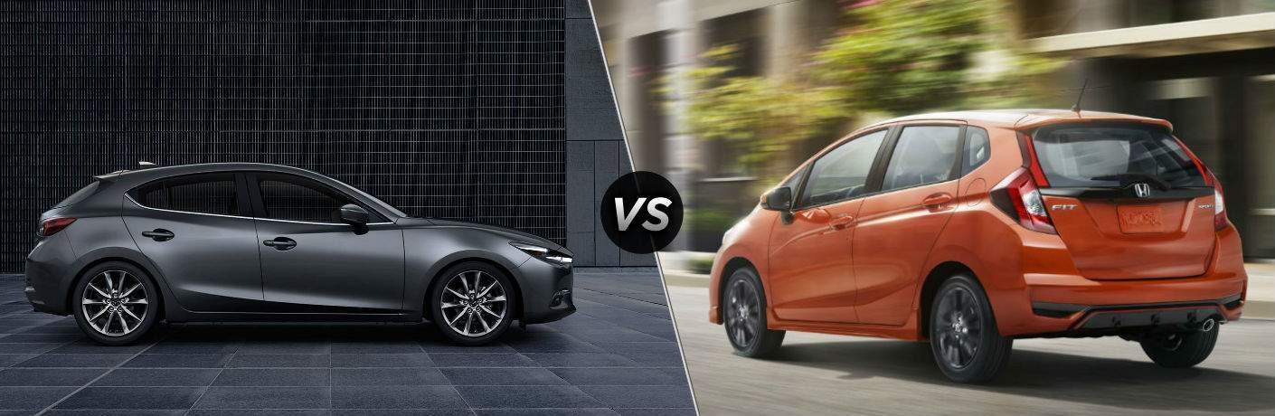 2018 Mazda3 5-Door in Gray vs 2018 Honda Fit in Orange