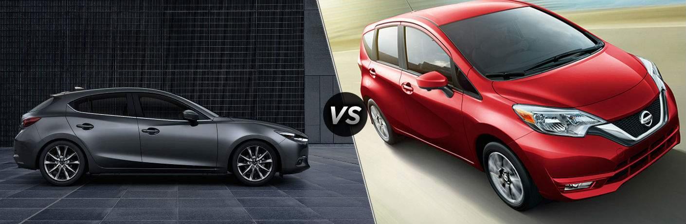 2018 Mazda3 5-Door in Gray vs 2018 Nissan Versa Note in Red