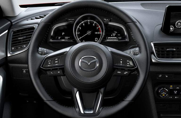 2018 Mazda3 View of Steering Wheel in Black