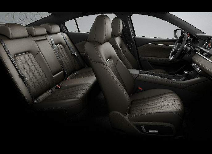 Interior View of the 2018 Mazda6 in Brown Leather