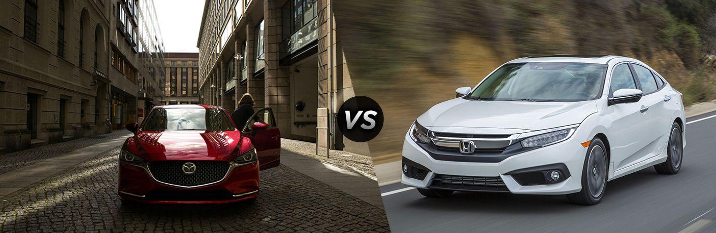 2018 Mazda6 in Red vs 2018 Honda Civic Sedan in White