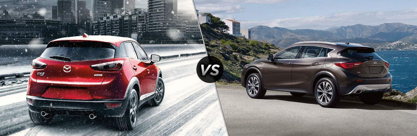 2018 Mazda CX-3 in Red vs 2018 Infiniti QX30 in Gray