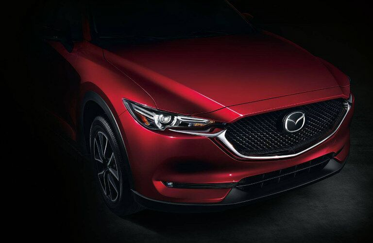 closeup of front grille and headlight of 2018 Mazda CX-5