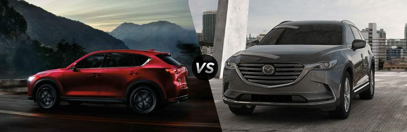 2018 Mazda CX-5 in Red vs 2018 Mazda CX-9 in Gray