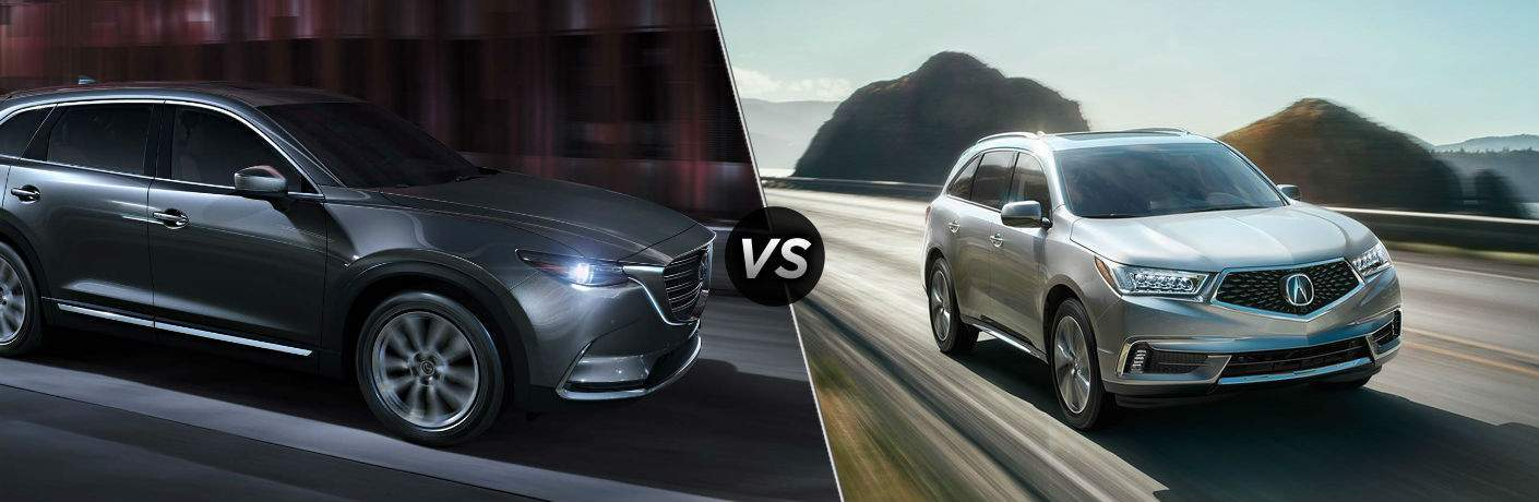 2018 Mazda CX-9 in Gray vs 2018 Acura MDX in Silver