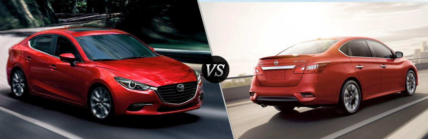 2018 Mazda3 in Red vs 2018 Nissan Sentra in Red