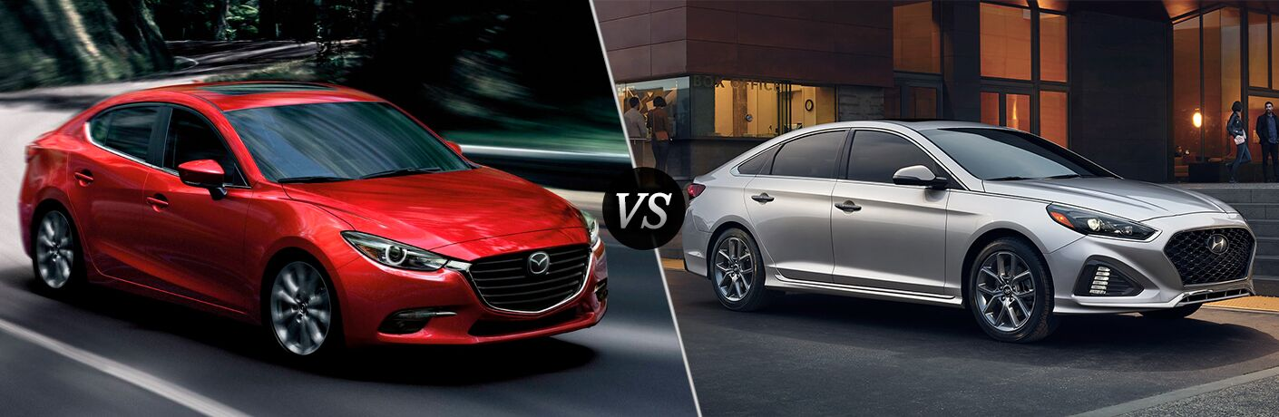2018 Mazda3 in Red vs 2018 Hyundai Sonata in Silver