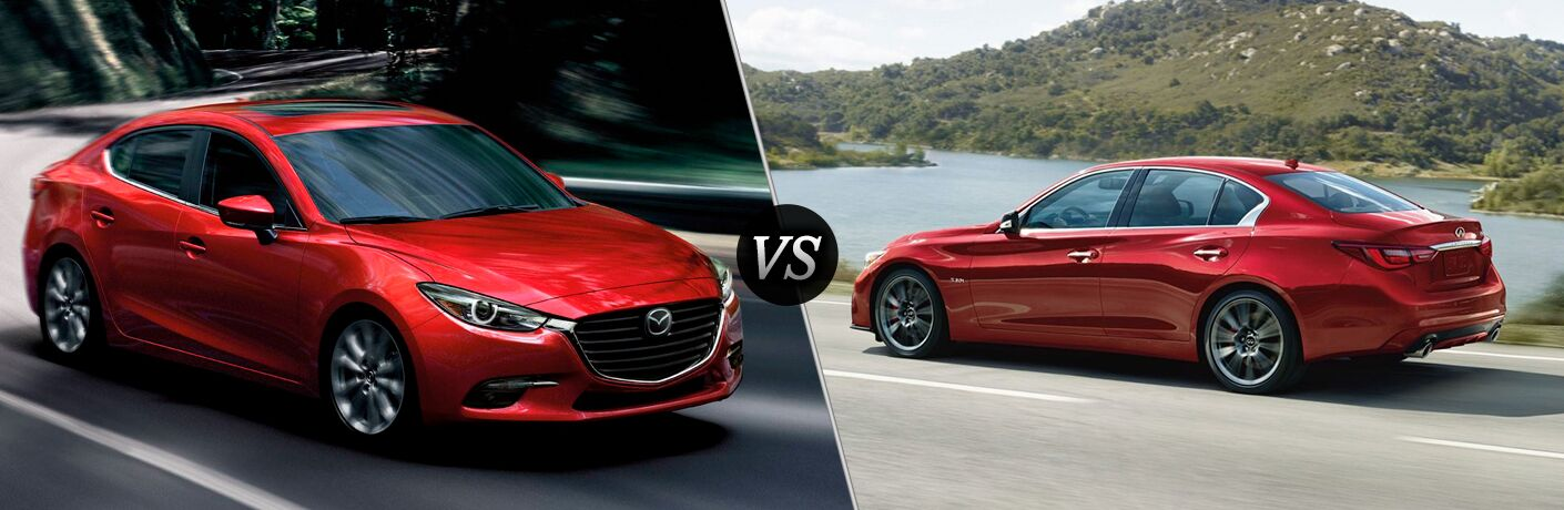 2018 Mazda3 in Red vs INFINITI Q50 in Red