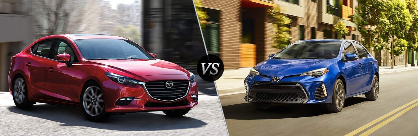 2018 Mazda3 in Red vs 2018 Toyota Corolla in Blue
