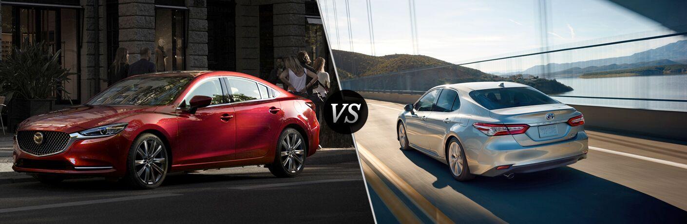 2018 Mazda6 in Red vs 2018 Toyota Camry in Silver