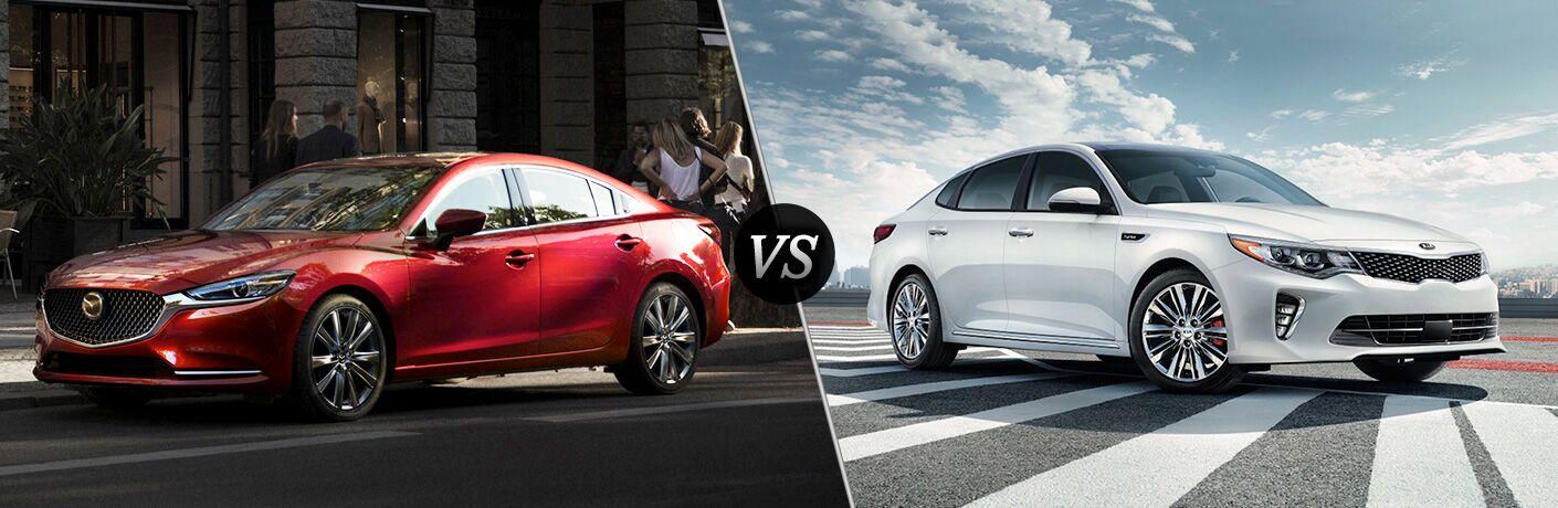 Red 2018 Mazda6 next to white 2018 Kia Optima in comparison image