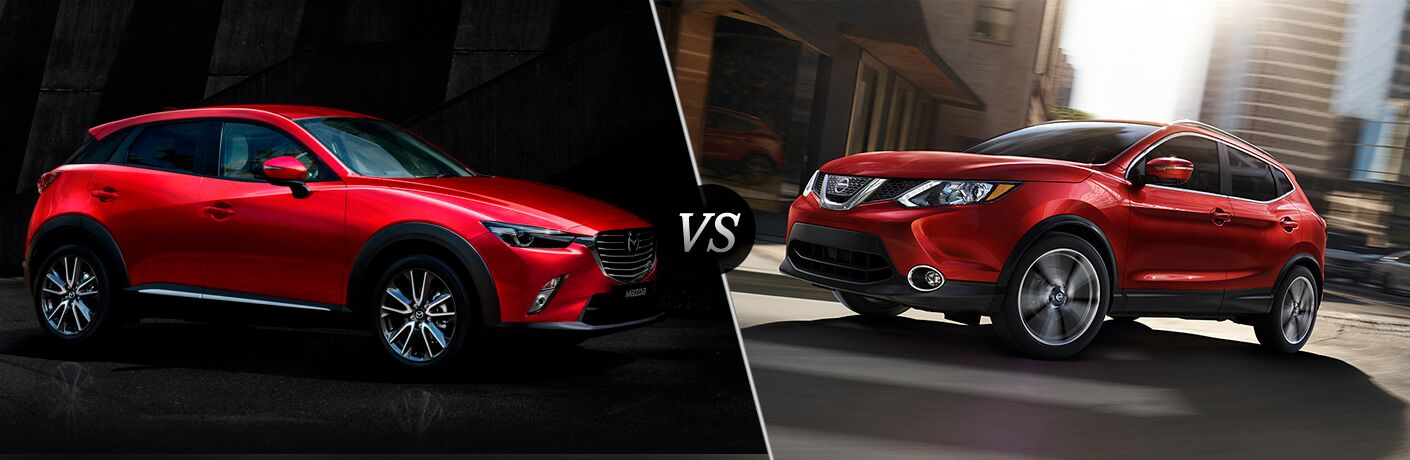 2018 Mazda CX-3 in Red vs 2018 Nissan Rogue Sport in Red