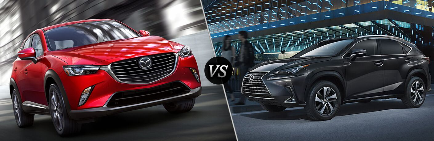 2018 Mazda CX-3 in Red vs 2018 Lexus NX in Black