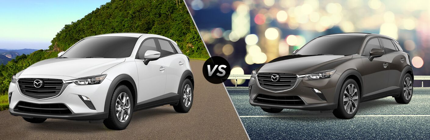 White 2019 Mazda CX-3 Sport on Country Road vs Gray 2019 Mazda CX-3 Touring on City Street