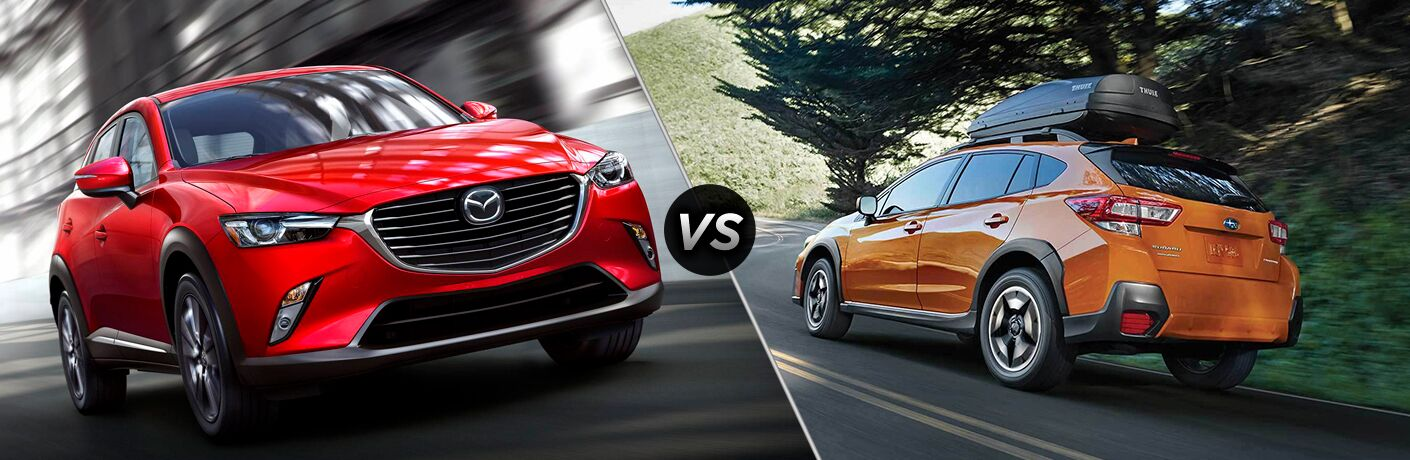 Red Mazda CX-3 and orange Subaru Crosstrek models next to each other in comparison image