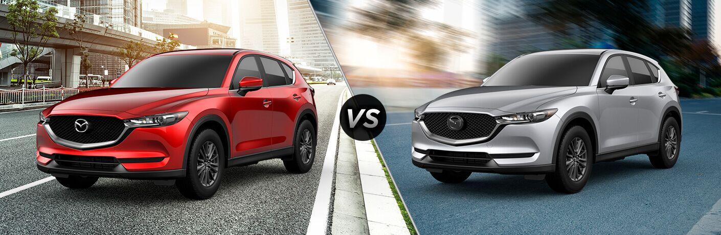 Red 2019 Mazda CX-5 Sport on a City Street vs Silver 2019 Mazda CX-5 Touring on a City Street