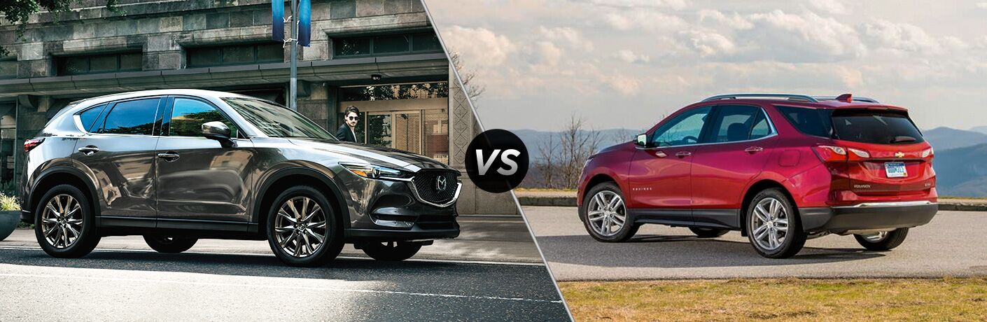 Gray 2019 Mazda CX-5 on a City Street vs Red 2019 Chevy Equinox on Mountain Road