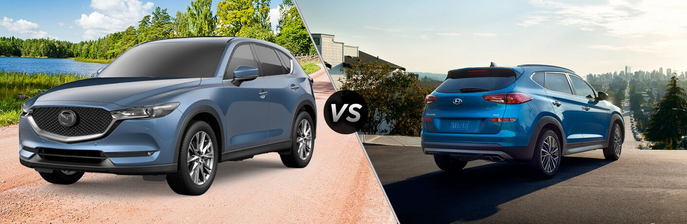 Blue 2019 Mazda CX-5 on Country Road vs Blue 2019 Hyundai Tucson in a Driveway