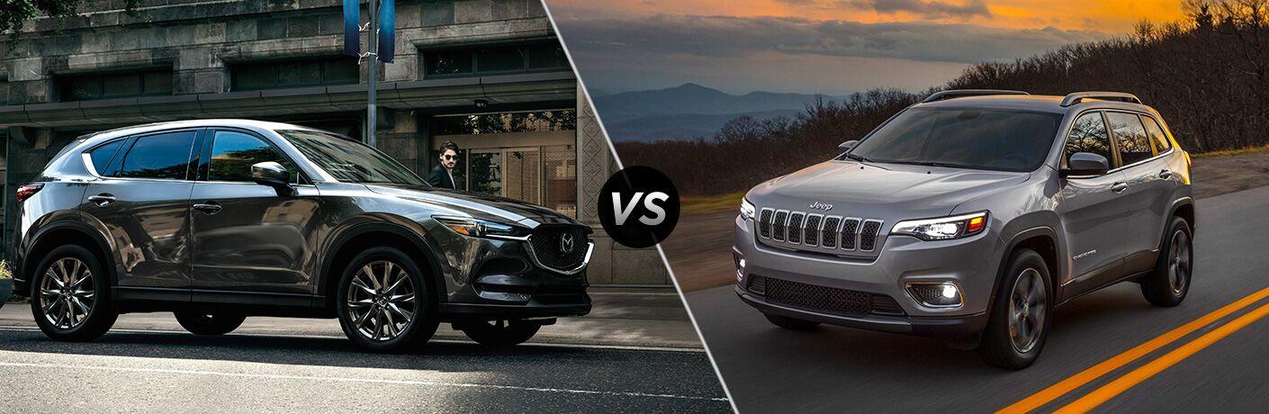 Gray 2019 Mazda CX-5 on City Street vs Silver 2019 Jeep Cherokee on Mountain Road