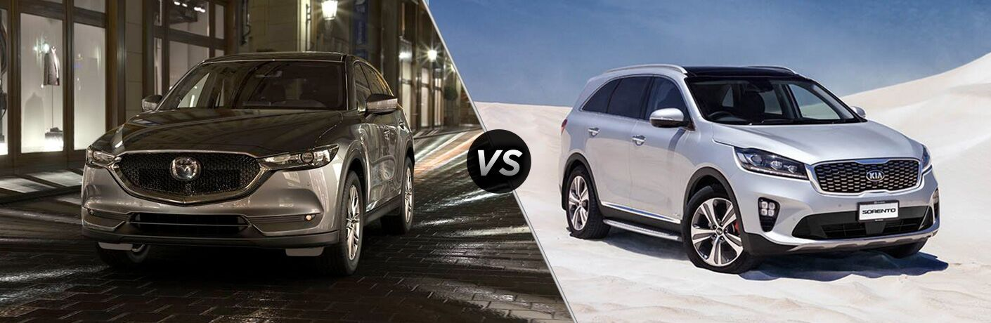 Silver 2019 Mazda CX-5 on City Street at Night vs Silver 2019 Kia Sorento in a Desert