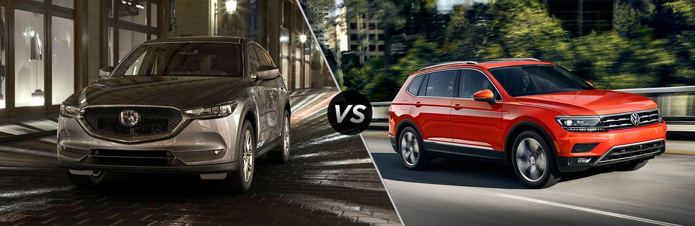 Silver 2019 Mazda CX-5 on Street at Night vs Orange 2019 VW Tiguan on Freeway