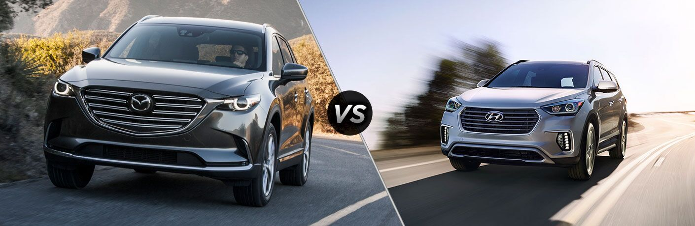Gray 2019 Mazda CX-9 on Highway vs Silver 2019 Hyundai Santa Fe XL on Highway