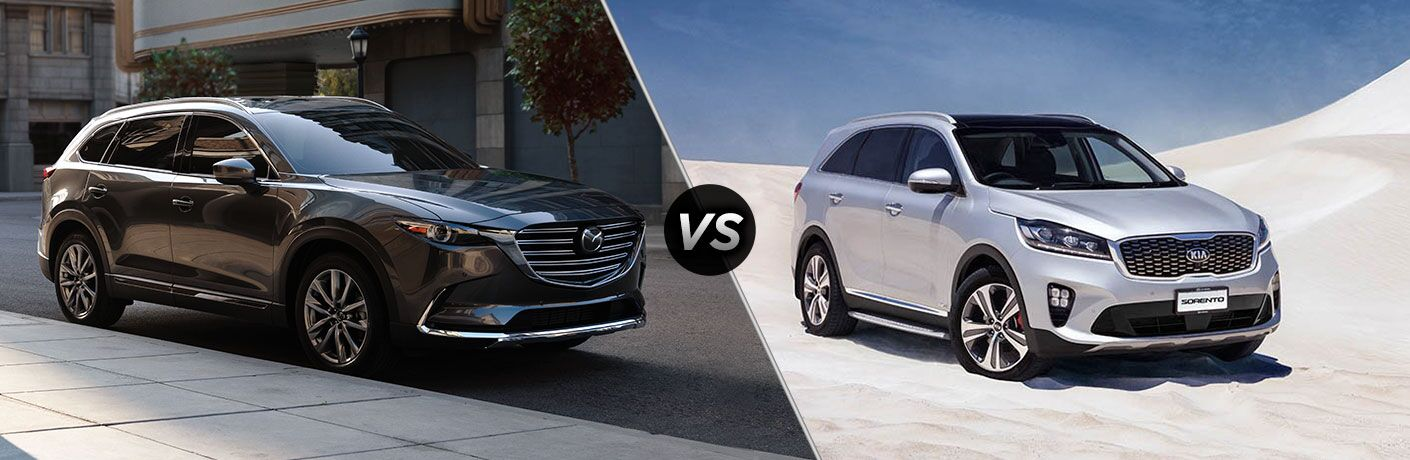 Gray 2019 Mazda CX-9 on City Street vs Silver 2019 Kia Sorento in the Desert