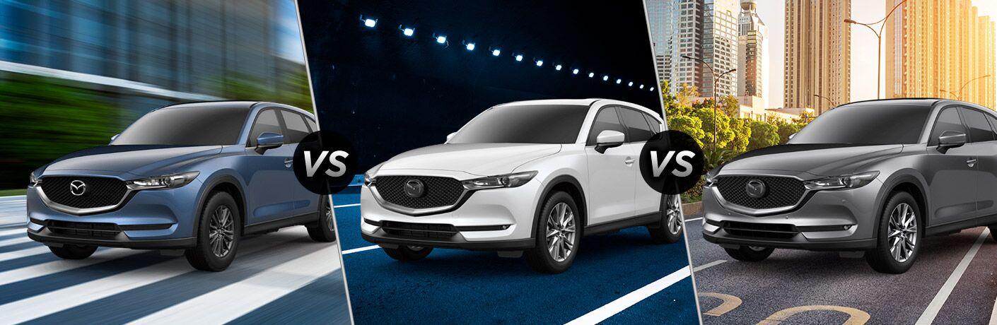Blue 2019 Mazda CX-5 Sport on a City Street vs White 2019 Mazda CX-5 Grand Touring in a Tunnel vs Gray 2019 Mazda CX-5 Signature on a City Street