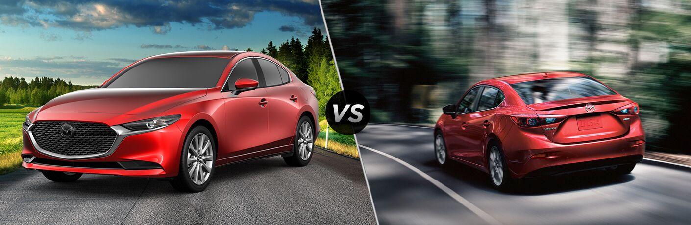 Red 2019 Mazda3 Sedan on a Country Road vs Red 2018 Mazda3 Sedan Rear Exterior on a Country Road