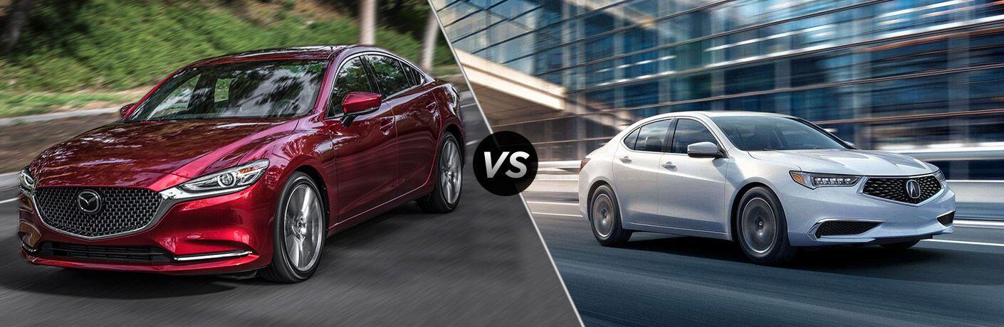 2018 Mazda6 in red vs 2018 Acura TLX in white